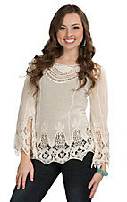 Miss Kelly Women's Beige Floral Crochet Long Sleeve Top