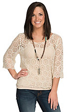 Miss Kelly Women's Beige Crochet Top
