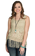 Miss Kelly Women's Beige Metallic Loose Crochet with Fringe Tank
