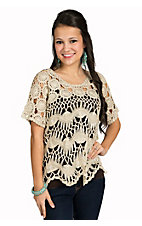 Miss Kelly 1999 Women's Beige Crochet Short Sleeve Fashion Top