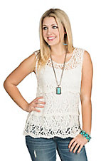 Miss Kelly Women's White Tiered Crochet Tank