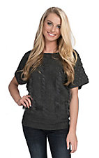 Miss Kelly Women's Grey with Faux Fur Trim Short Sleeve Sweater