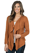 Miss Kelly Women's Rust Aztec Pattern with Fringe Sweater Cardy