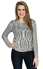Miss Kelly Women's Silver Metallic Crew Neck Cable Sweater