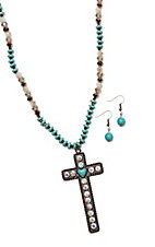 Southern Junkie Turquoise & Bling w/ Copper Cross Jewelry Set