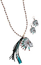 Southern Junkie Indian Chief w/ Copper & Black Tassel Jewelry Set