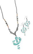Southern Junkie Silver & Turquoise Cactus Necklace & Earrings Jewelry Set