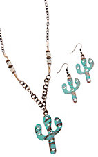 Southern Junkie Copper & Turquoise Cactus Necklace & Earrings Jewelry Set