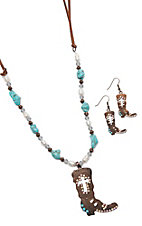 Southern Junkie Copper Boot Bling W/ Turquoise Accents Jewelry Set