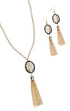 Grace & Emma Make a Statement Cowhide Oval and Gold Fringe Jewelry Set
