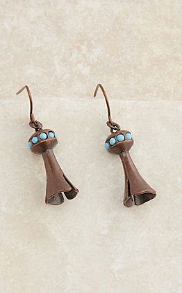 Wired Heart Copper Squash Blossom with Turquoise Small Dangle Earrings