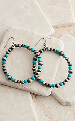 West & Co. Silver and Turquoise Beads Hoop Earrings