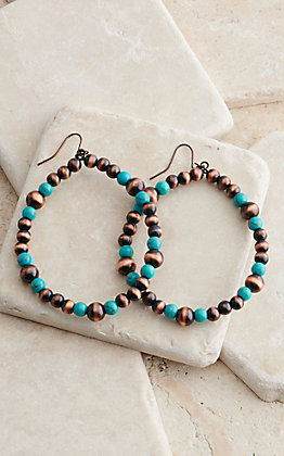 West & Co. Copper and Turquoise Beads Hoop Earrings