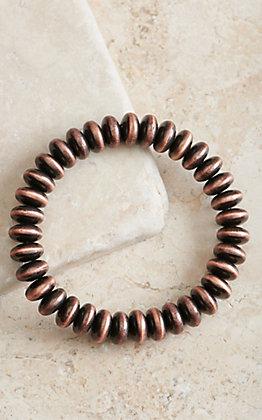 Copper Disk Beaded Stretch Bracelet