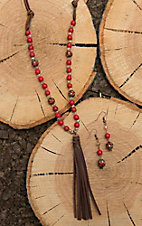 Southern Junkie Brown Leather with Red Beaded Stones and Tassel Jewelry Set