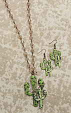 Southern Junkie Crystal Beaded with Cactus Pendant Jewelry Set