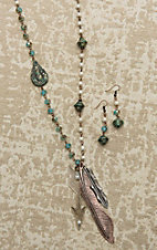 Southern Junkie Pearl Beaded with Turquoise Details and Feather Pendant Jewelry Set