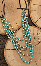 Southern Junkie Turquoise and Pearl Beaded Brown Leather Jewelry Set