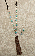 Southern Junkie Brown Leather with Turquoise and Pearl Beaded Stones and Tassel Jewelry Set
