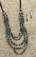 Southern Junkie Turquoise and Pearl Beaded Brown Braided Leather Jewelry Set