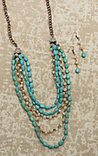 Southern Junkie Turquoise and Pearl Beaded Copper Jewelry Set