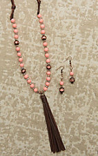 Southern Junkie Brown Leather with Pink Beaded Stones and Tassel Jewelry Set