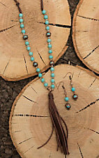 Southern Junkie Brown Leather with Turquoise Beaded Stones and Tassel Jewelry Set