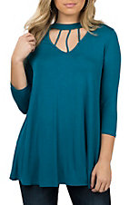 James C Women's Teal 3/4 Sleeve Cage Detail Collar Fashion Shirt