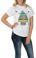 Girlie Girl Originals Women's White Serape Arrow Head S/S T-Shirt