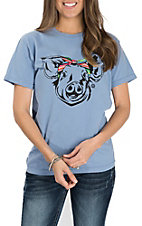Girlie Girl Originals Washed Denim Serape Pig S/S T-Shirt
