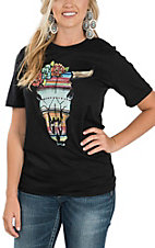 XOXO Art & Co. Women's Black Serape Cow Skull Short Sleeve T-Shirt
