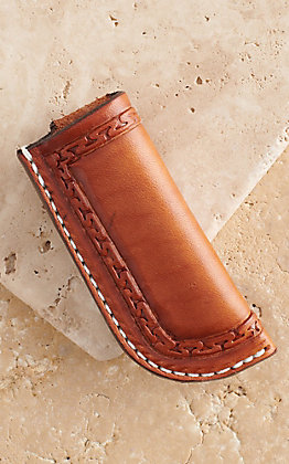 Vik Leather Sheaths Serpentine Oil Tanned Leather Hand Made Stamp Tooled Knife Sheath