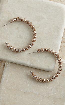 Natural Sparkle Beaded Hoop Earrings