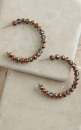 Copper and Smoke Sparkle Beaded Hoop Earrings