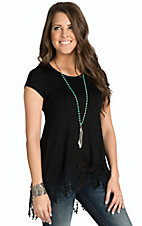 Vintage Havana Women's Black with Crochet Trim Short Sleeve Knit Tunic