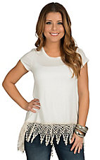Vintage Havana Women's Ivory Crochet Trim Top