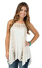 Vintage Havana Women's Ivory with Crochet Insert Swing Tank