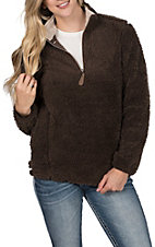 Girlie Girl Originals Women's Brown Sherpa Pullover Jacket