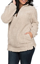 Girlie Girl Originals Women's Taupe Sherpa Pullover Jacket