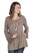 James C Women's Solid Taupe with Crochet on Long Sleeves Ribbed Casual Knit Top
