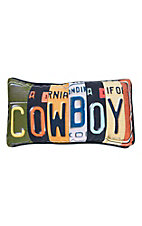 Manual Woodworkers & Weave Cowboy License Plate Throw Pillow
