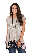 James C Women's Cream & Navy Stripe Contrast Floral Ruffle Bottom Short Sleeve Fashion Top