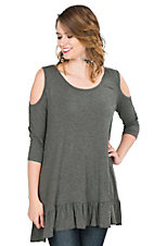 James C Women's Solid Charcoal with Ruffled Bottom Hem Cold Shoulder 3/4 Sleeve Fashion Top
