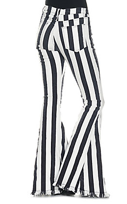 Saints and Hearts Women's Black Striped Flared Jeans