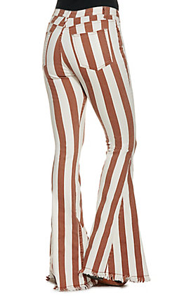 Saints and Hearts Women's Rust and White Stripe Flare Jeans