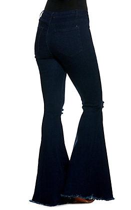Saints & Hearts Women's Dark Wash Fringe Flared Leg Jeans