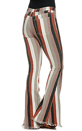 Saints and Hearts Women's Brown Striped Flared Jeans