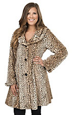 Angie Women's Brown Leopard Print Faux Fur Swing Coat