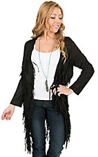 Angie Women's Black Faux Suede with Fringe Cardigan