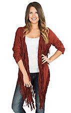 Angie Women's Rust Faux Suede with Fringe Cardigan